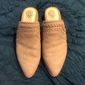 Vince Camuto suede beige mules, size 9